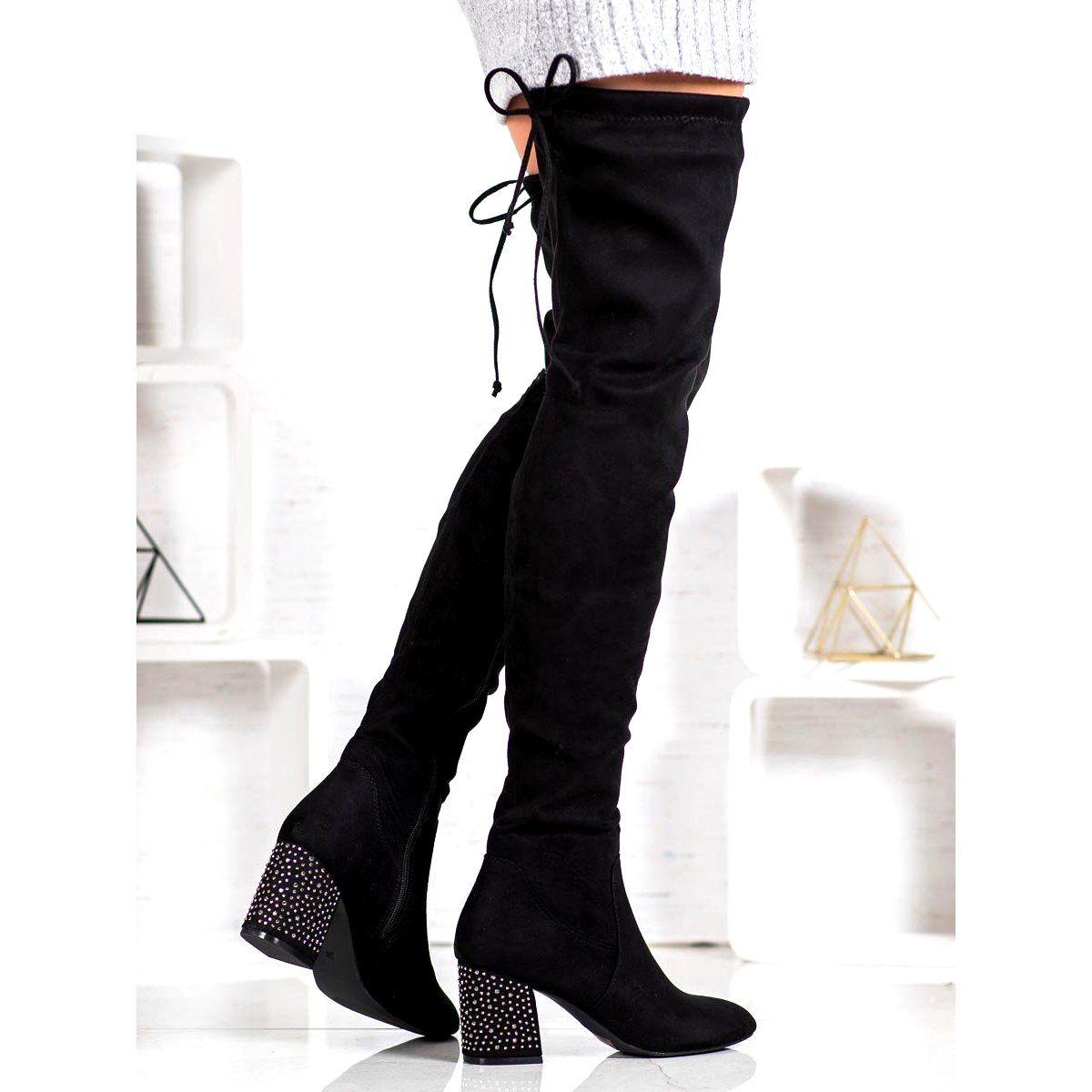 Super Mode Wysokie Kozaki Z Ozdobnym Obcasem Czarne Boots Fashion Shoes Heels