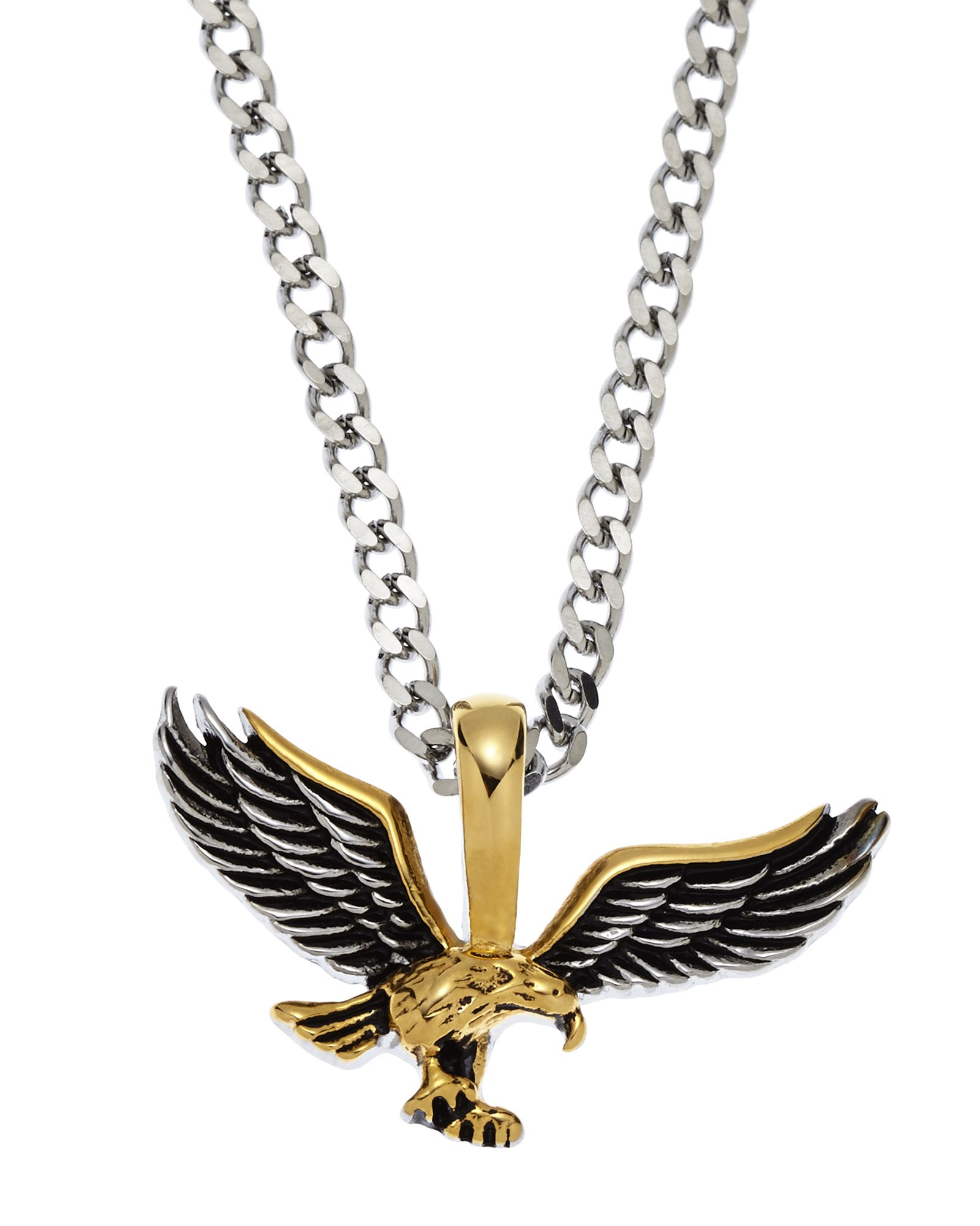 gold pendant men tone mens golden two accent diamond s yellow eagle