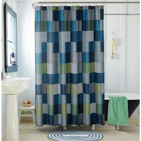 American Original Geo Blocks Blue Shower Curtain Blue Shower
