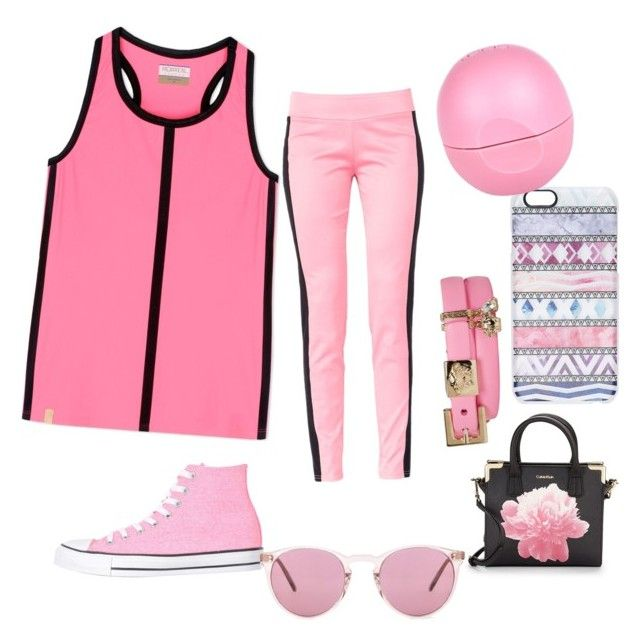 """""""On Wednesday we wear pink"""" by alyshakay on Polyvore featuring Monreal, Maiocci, Converse, Calvin Klein, Oliver Peoples, Casetify, Versace and River Island"""