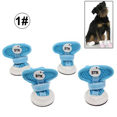 [$8.05] New Fashion Anti-Skidding STR Dog Shoes / Pet Shoes, Breathable Pet Footwear, 4pcs in one packaging, the price is for 4pcs, Size: 1# (Blue)