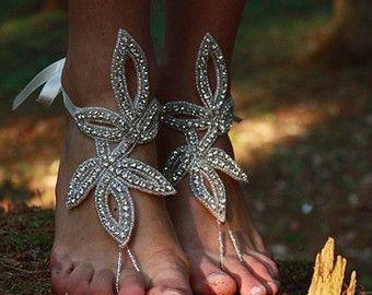 Crystal Barefoot SandalsBridal Swarovski Rhinestone by BeNelipots