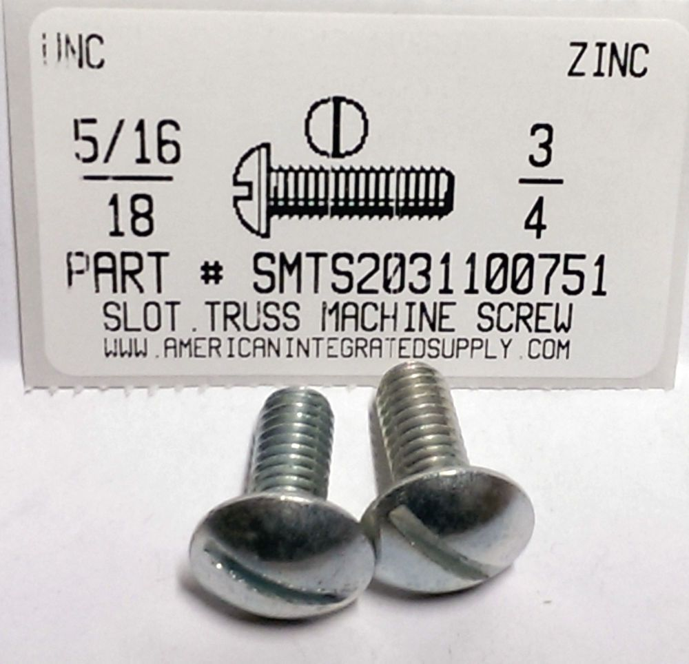 5 16 18x3 4 Truss Head Slotted Machine Screws Steel Zinc Plated 10 Ebay Machine Screws Deck Screws Screws