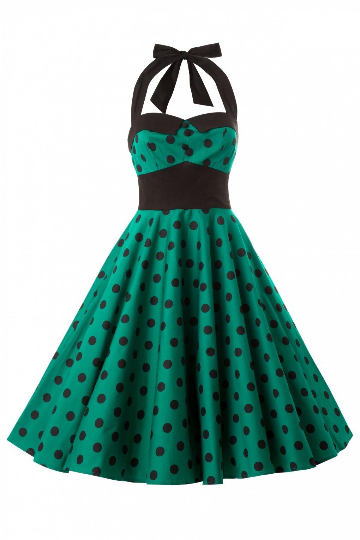 Bunny - Adelaide 50s Swing Halter Dress in Green Black Polka Dot ...