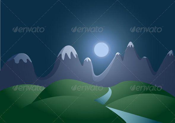 Graphicriver Night City Landscape Reflection Cartoon 3846039 Night Landscape City Landscape Landscape Background