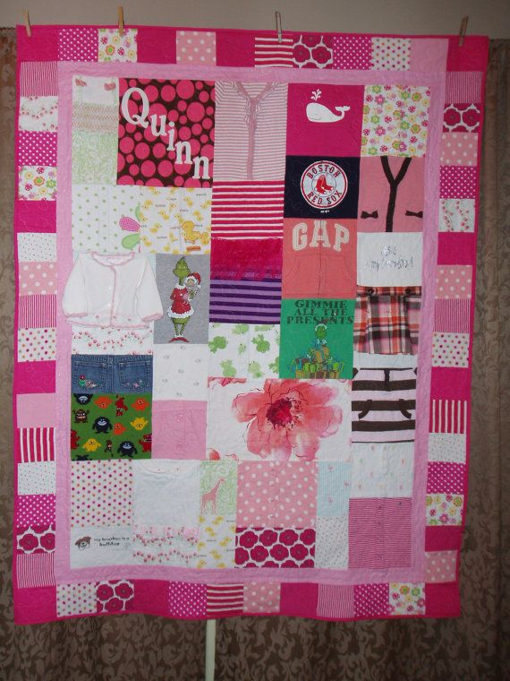 Personalized baby clothes quilt!  Love how you could do the border out of old baby blankets as well as teh backing.