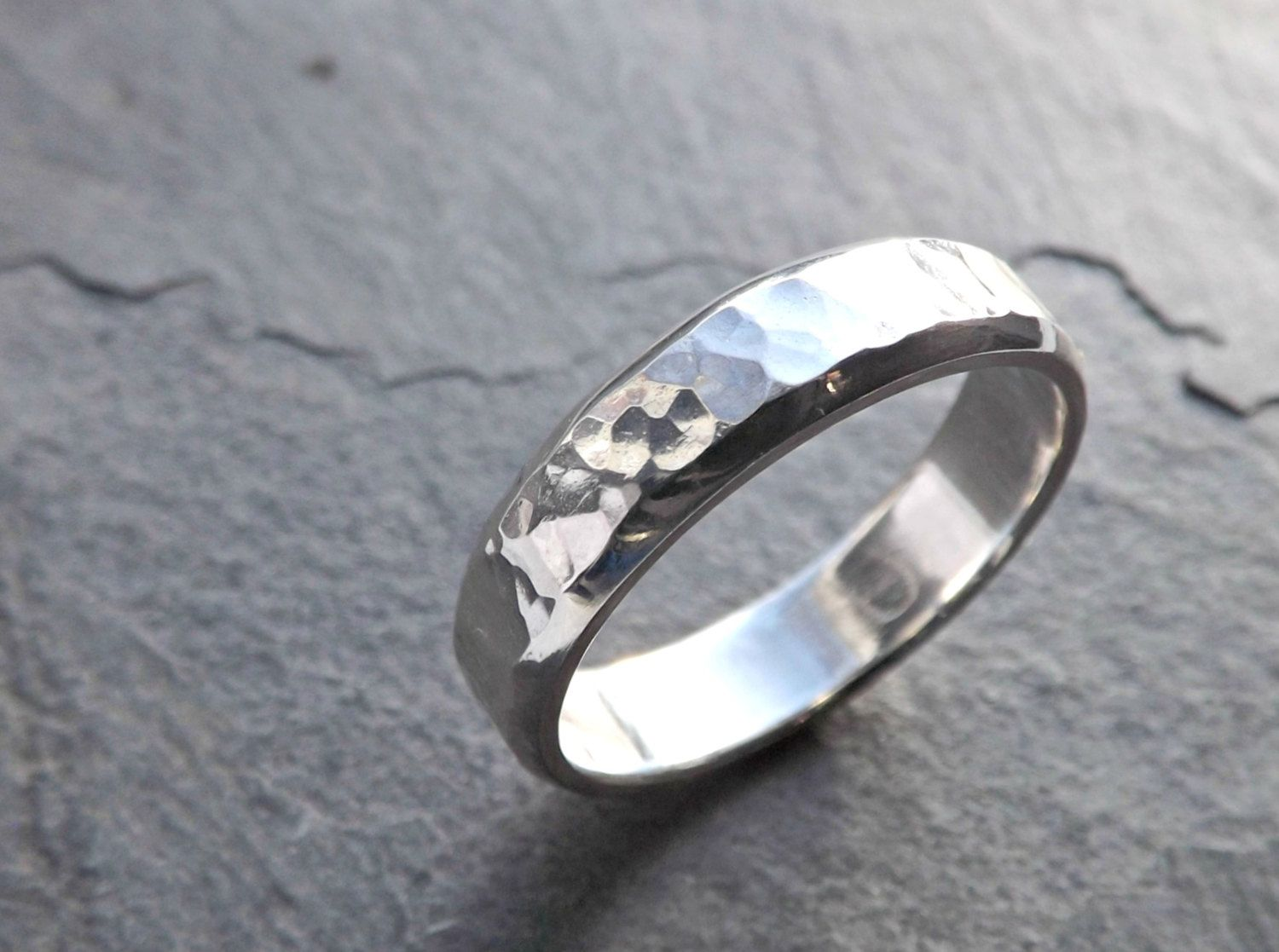 Mens Ring Silver Mens Wedding Band Men Engagement Ring Hammered