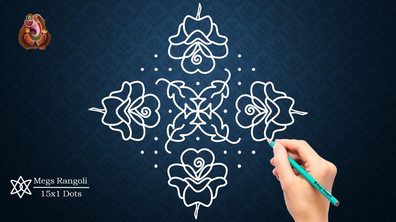 Rose Flowers Rangoli Design With 15x1 Dots Rangoli