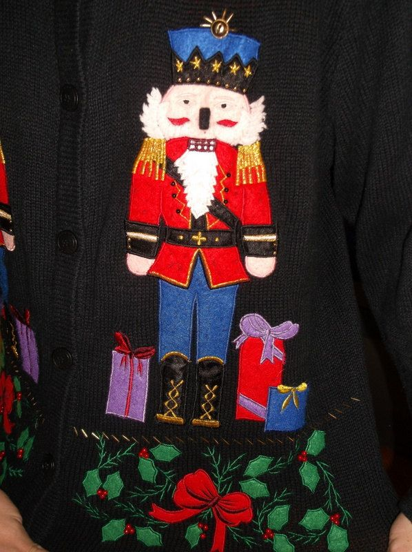 tacky Christmas sweater with two nutcrackers and a lot of style FREE SHIPPING. $20.00, via Etsy.