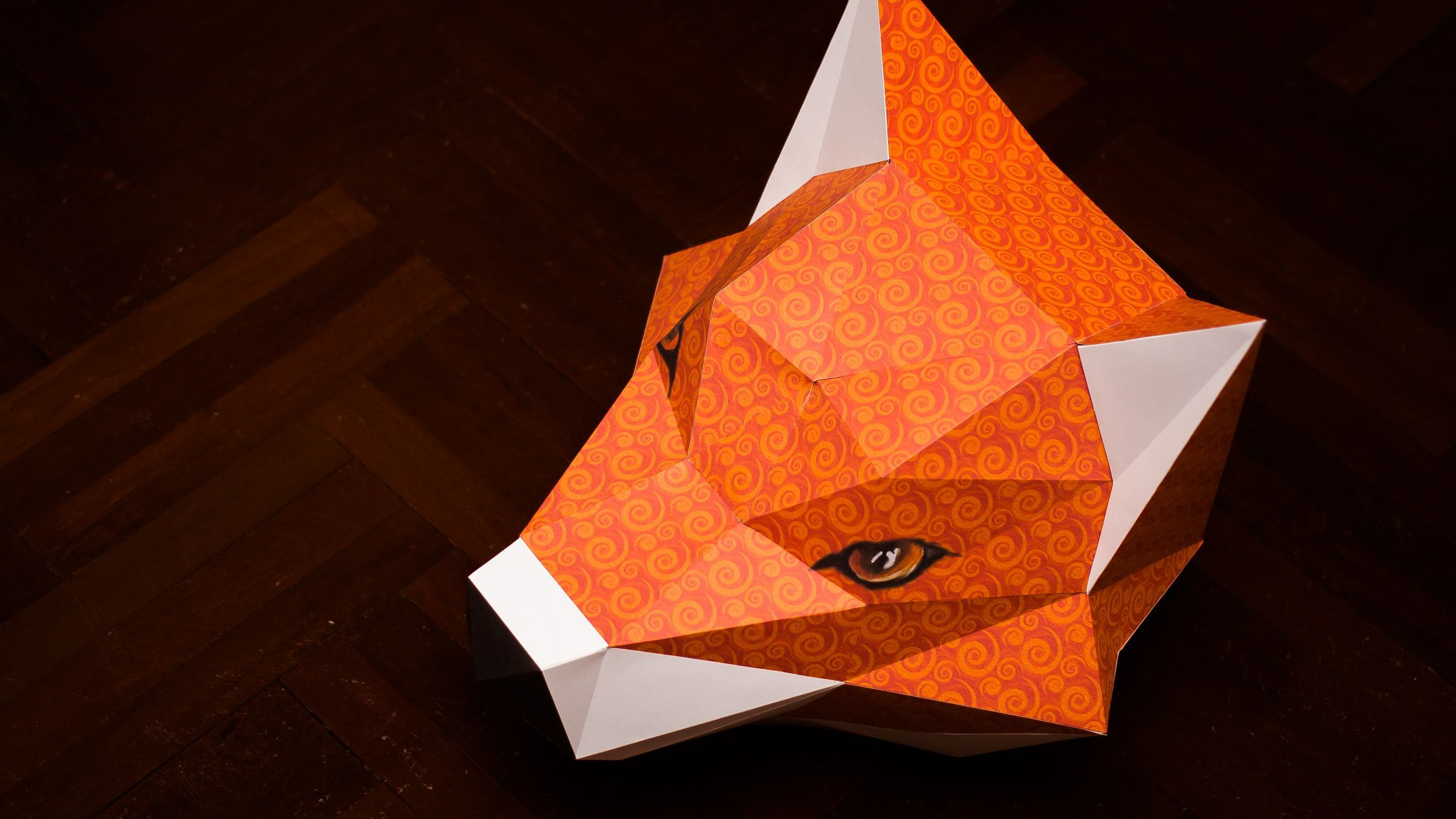 3d paper model instruction paper model instruction illustration of teaching a paper toy figure 3 how to make a fox head mask paper head model fox jeuxipadfo Image collections