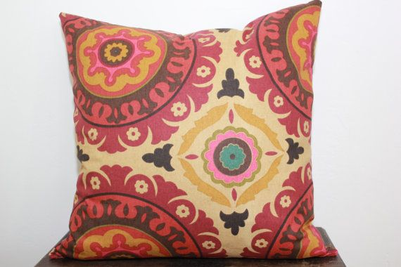 Pillow Suzani  20x20  Beautiful  Vibrant Colors  Red  Rust  Gold  Pink  Brown  Orange and Tiny bit of Turquoise  like a Summer Sunset on Etsy, $30.00