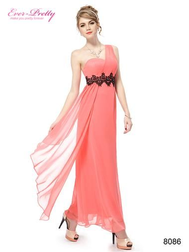 One Shoulder Black Lace Coral Chiffon Long Party Dress - Ever-Pretty ...
