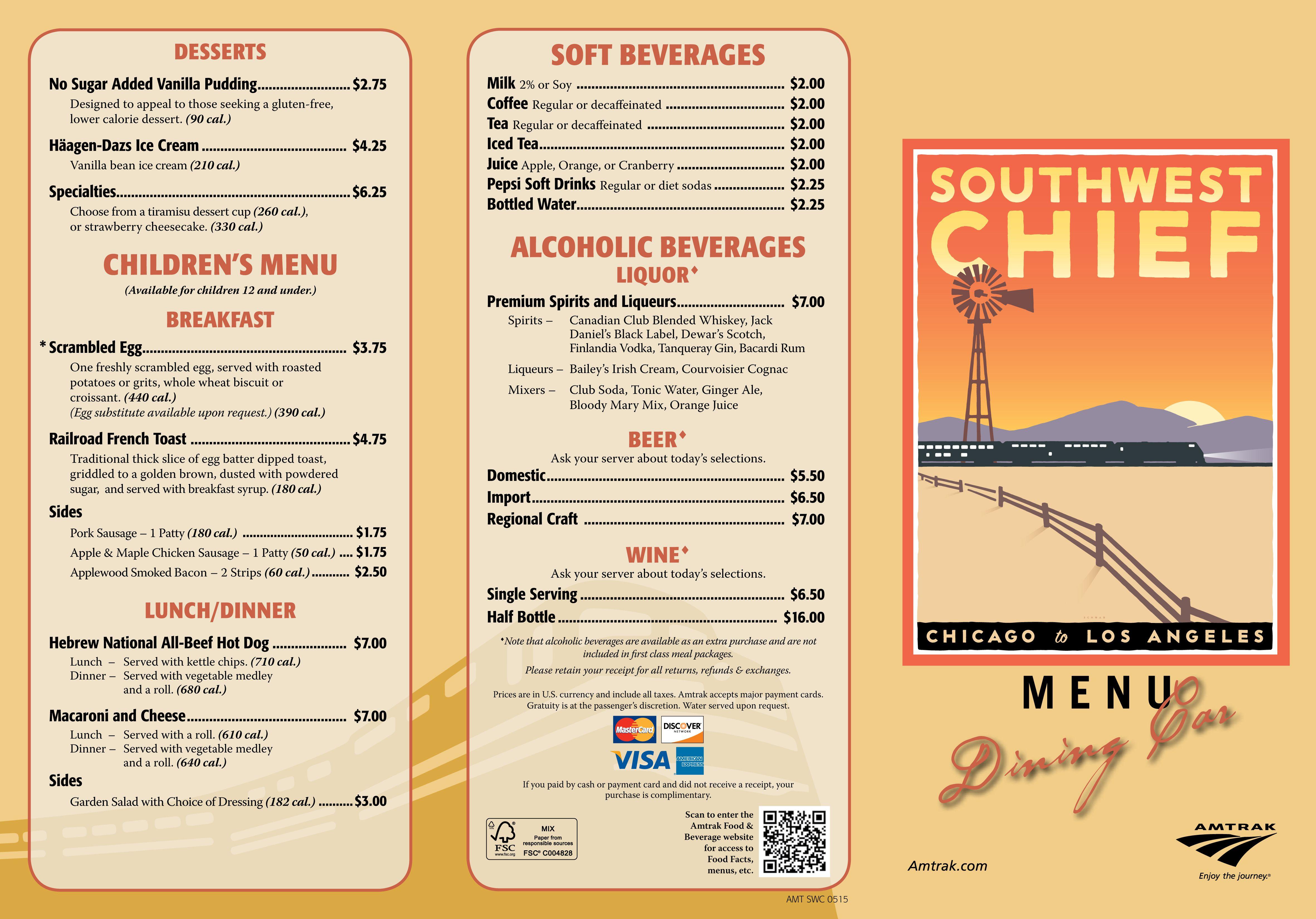 Dining Car menu Southwest Chief Pinterest Menu and