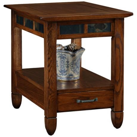 Rustic Oak And Slate Storage End Table X8436 Lamps Plus Oak End Tables End Tables Furniture