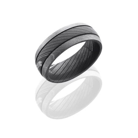 Damascus Steel Wedding Ring With Two Grooves And Two Finishes Damascus Steel Wedding Band Steel Wedding Ring Mens Wedding Bands Unique