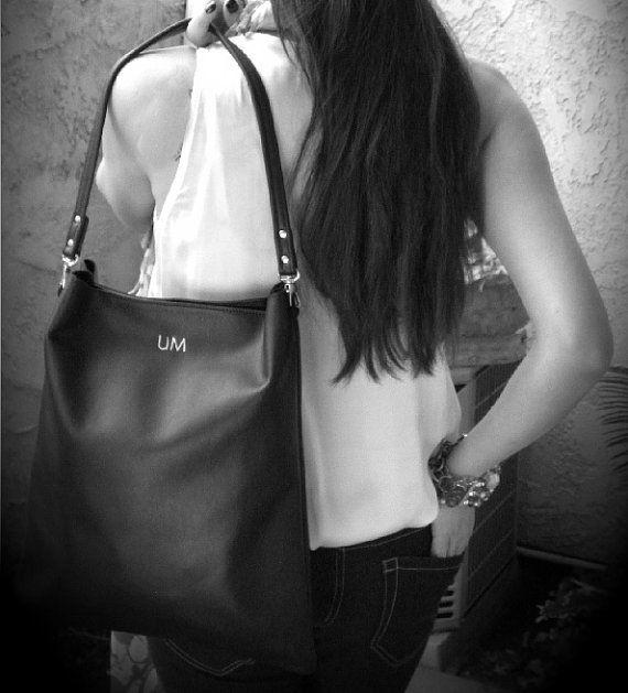 BLACK Monogrammed Leather Tote Black by AnythingbutPlainJane