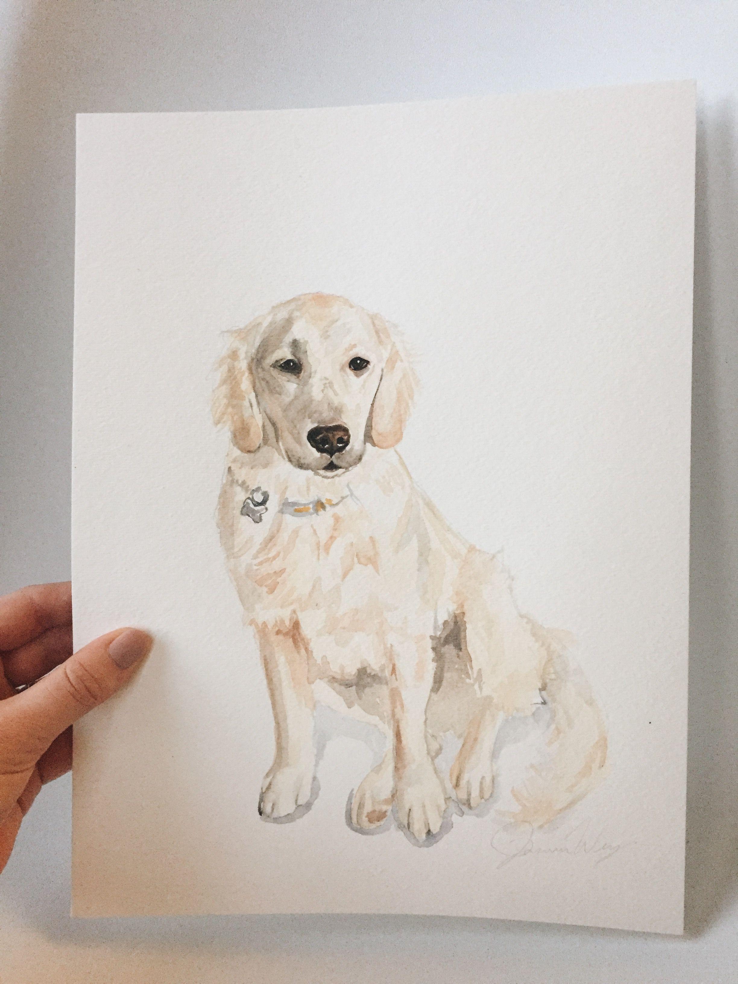 Golden Retriever Puppy Custom Watercolor Pet Portrait Dog Puppy