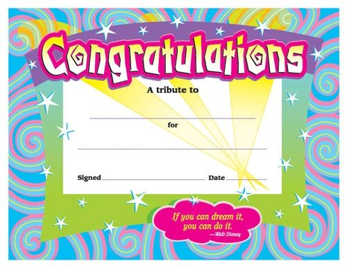 Certificates for All Ages, Congratulations Award, T2954 Awards - congratulations award template