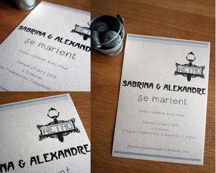 Vintage Paris metro wedding invitations