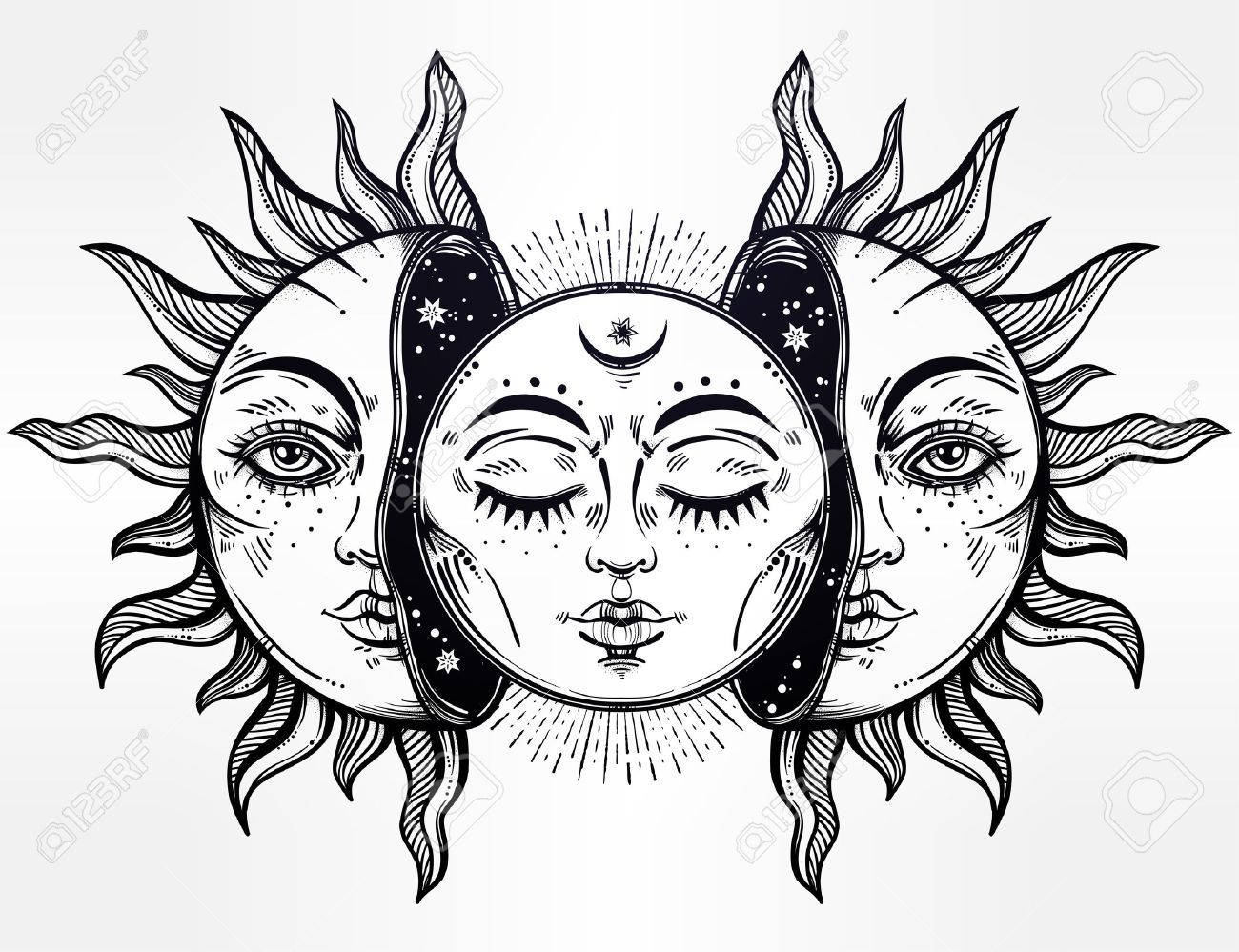 69162166-Vector-illustration-of-Moon-and-Sun-with-faces--Stock-Photo ...