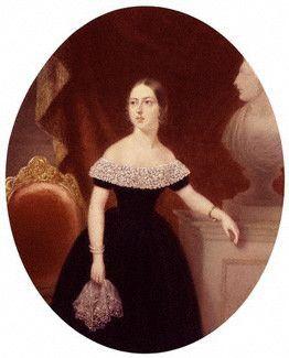 Queen Victoria (age c21) - Painting by Aaron Edwin Penley, c1840