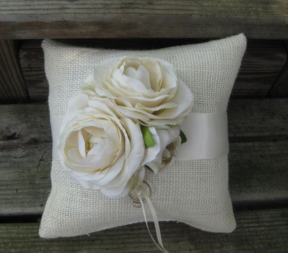 Burlap and Satin  Ring Bearer Pillow for your by FloralAccents, $30.95