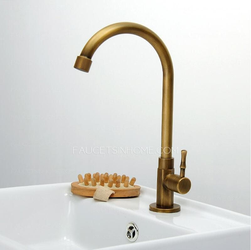 Cheap Antique Brass Tall Rotatable Bathroom Sink Faucet Bathroom - Inexpensive bathroom fixtures