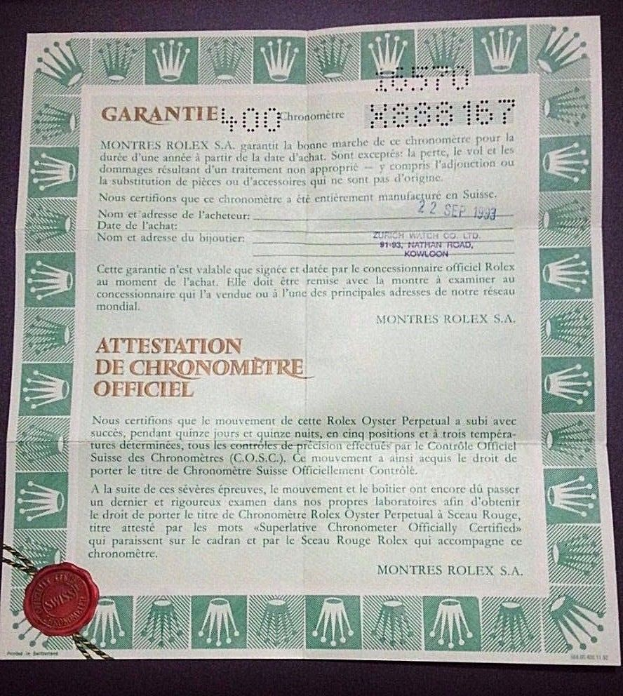 Authentic Rolex Explorer  Certificate Warranty