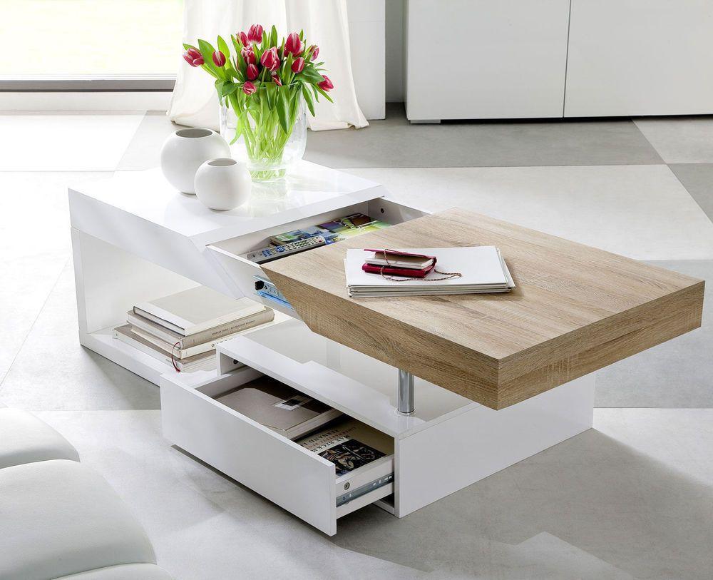 Moda Designer Wood Contemporary Modern Coffee Table Storage