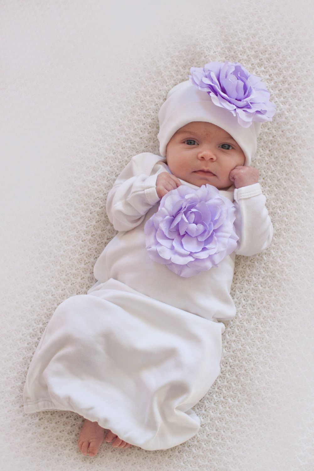 db75c3b40e Take-Home-Outfit for Baby Girl - White With Lavender Flowers Infant Girls  Shower Gift