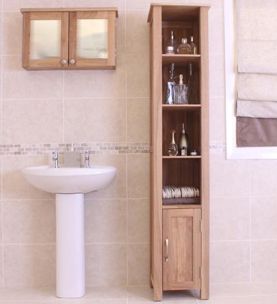 Tall Thin Shelving Unit | Mobel Oak Tall Narrow Bathroom Shelving Unit