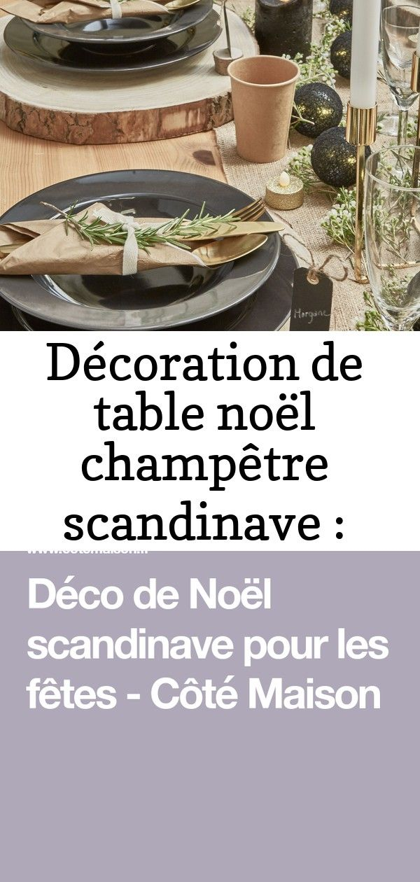 Décoration de table noël champêtre scandinave : kraft, noir, or, wax frais, romarin marque-place #ch #sapinnoel2019
