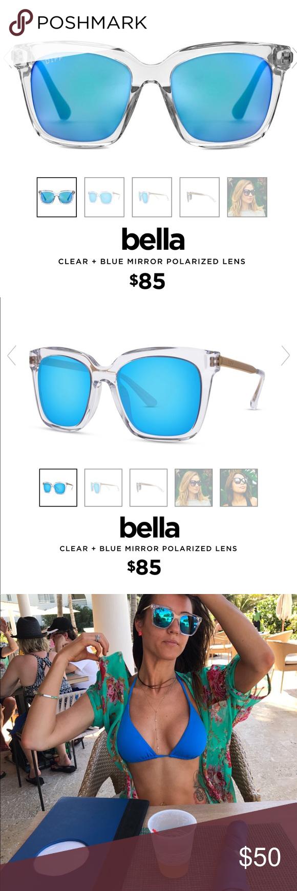e4ffd18d4f Diff eyewear Bella Sunglasses Clear and reflective blue Bella sunglasses