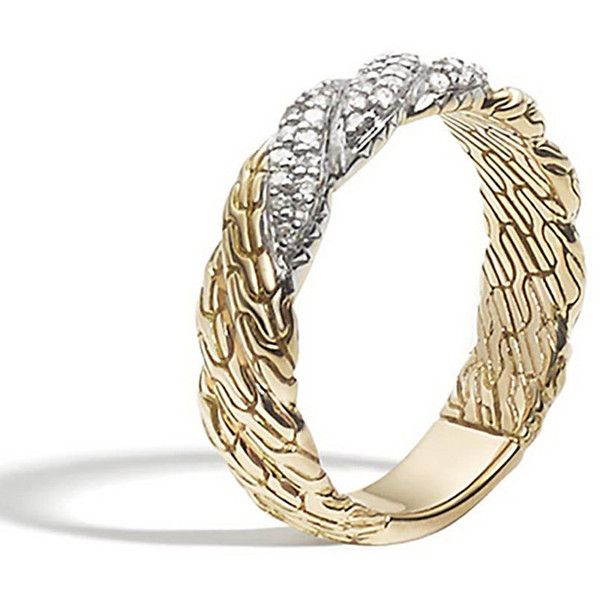 John Hardy Classic Chain Twisted 18k Diamond Band Ring (60.140 RUB) ❤ liked on Polyvore featuring jewelry, rings, no color, wide rings, twisted diamond ring, 18k ring, wide-band diamond rings and braided ring