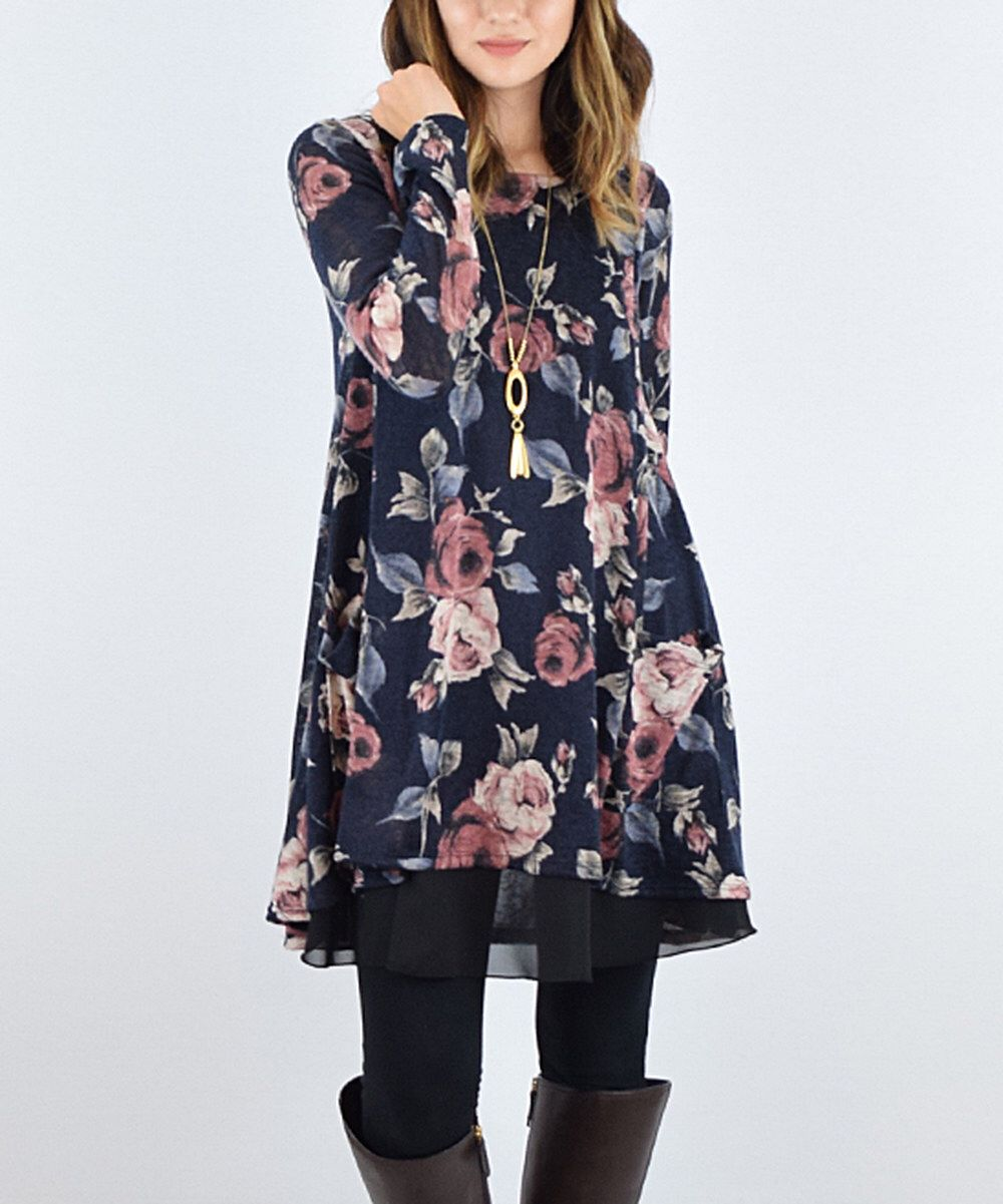 Look at this éloges Navy Floral A-Line Layered Tunic on #zulily today!