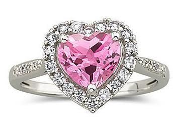 Pink Heart Sapphire Ring with Diamond Accent JC Penny 3 http