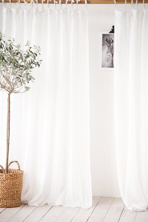 Tie Top Sheer Linen Curtain Panel Light Stone Washed Day Etsy