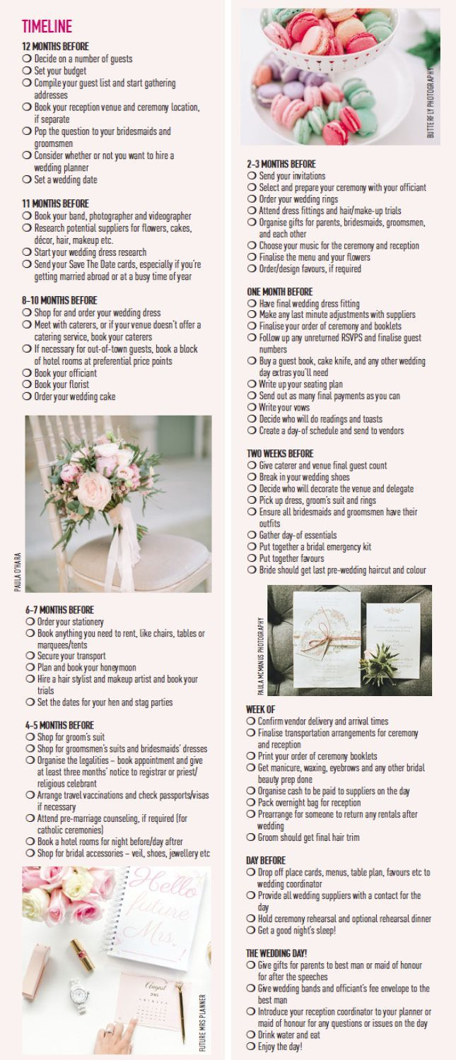 Month Wedding Planning Timeline Checklist  Weddings