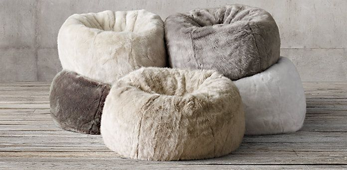 Ultra Faux Fur Bean Bag Rh Room Screen