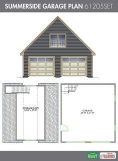 Summerside Garage Plan 26 X 28 2 Car Garage 378 Sq Ft Bonus Room 61205set Kent Building Supplies Garageplan Garage Plan Garage Plans Detached Garage