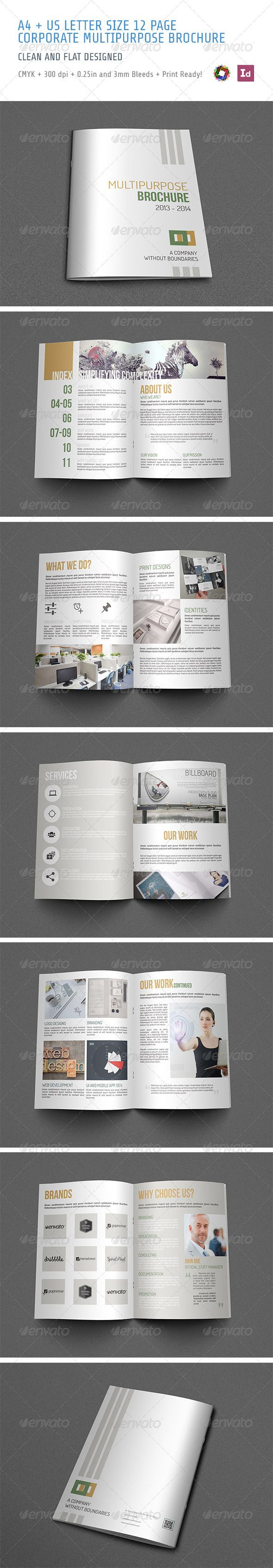 Brochure  #GraphicRiver          brochure  multipurpose  clean and flat designed  a4 and letter size 12 page indesign template  included idml files for indesign cs4 or higher versions  cmyk, 300 dpi, 0.25in bleeds for letter size, 3mm bleeds for a4 size and print ready!    Fonts    Dosis :  .fontsquirrel /fonts/dosis  Bebas Neue :  .fontsquirrel /fonts/bebas-neue  Titillium :  .fontsquirrel /fonts/titillium    Photos in preview image and in screenshots are only for…
