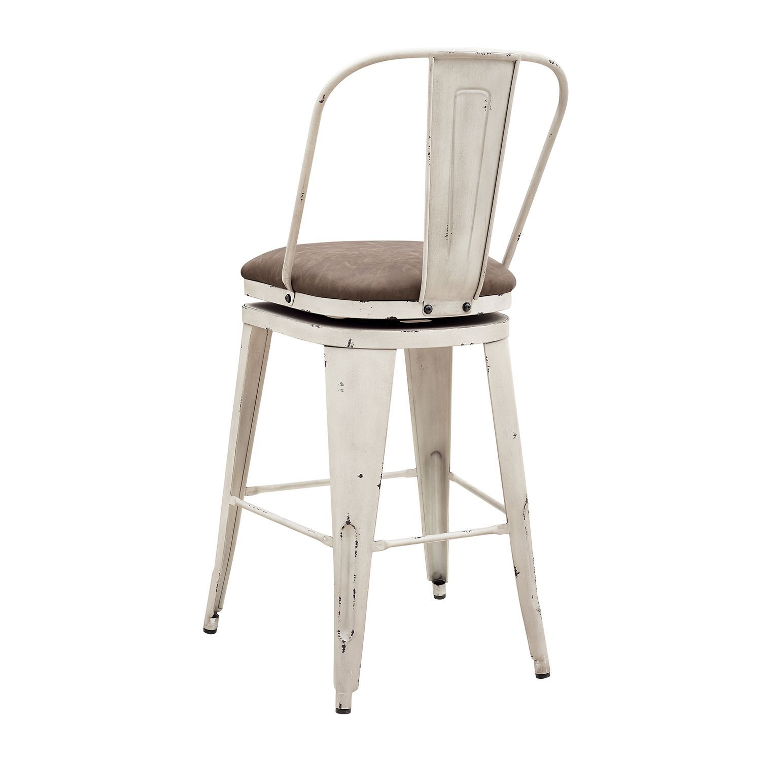 Distressed Antique White Metal Swivel Bar Stool Bar Stools Swivel Bar Stools White Bar Stools