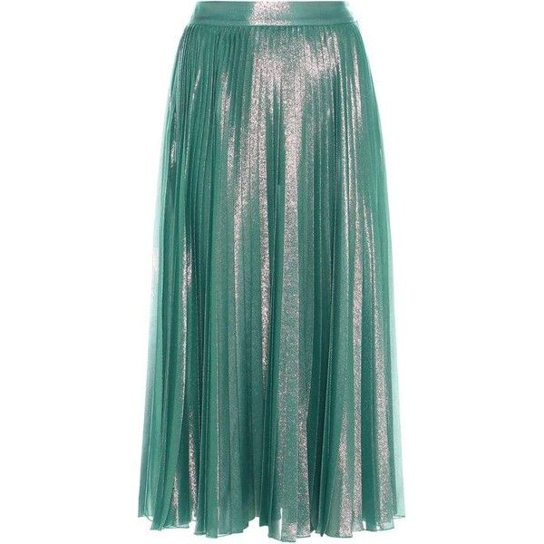 cfab7c3266 Gucci Pleated Skirt ($1,700) ❤ liked on Polyvore featuring skirts, green, gucci  skirt, gucci, knee length pleated skirt, pleated skirt and green skirt