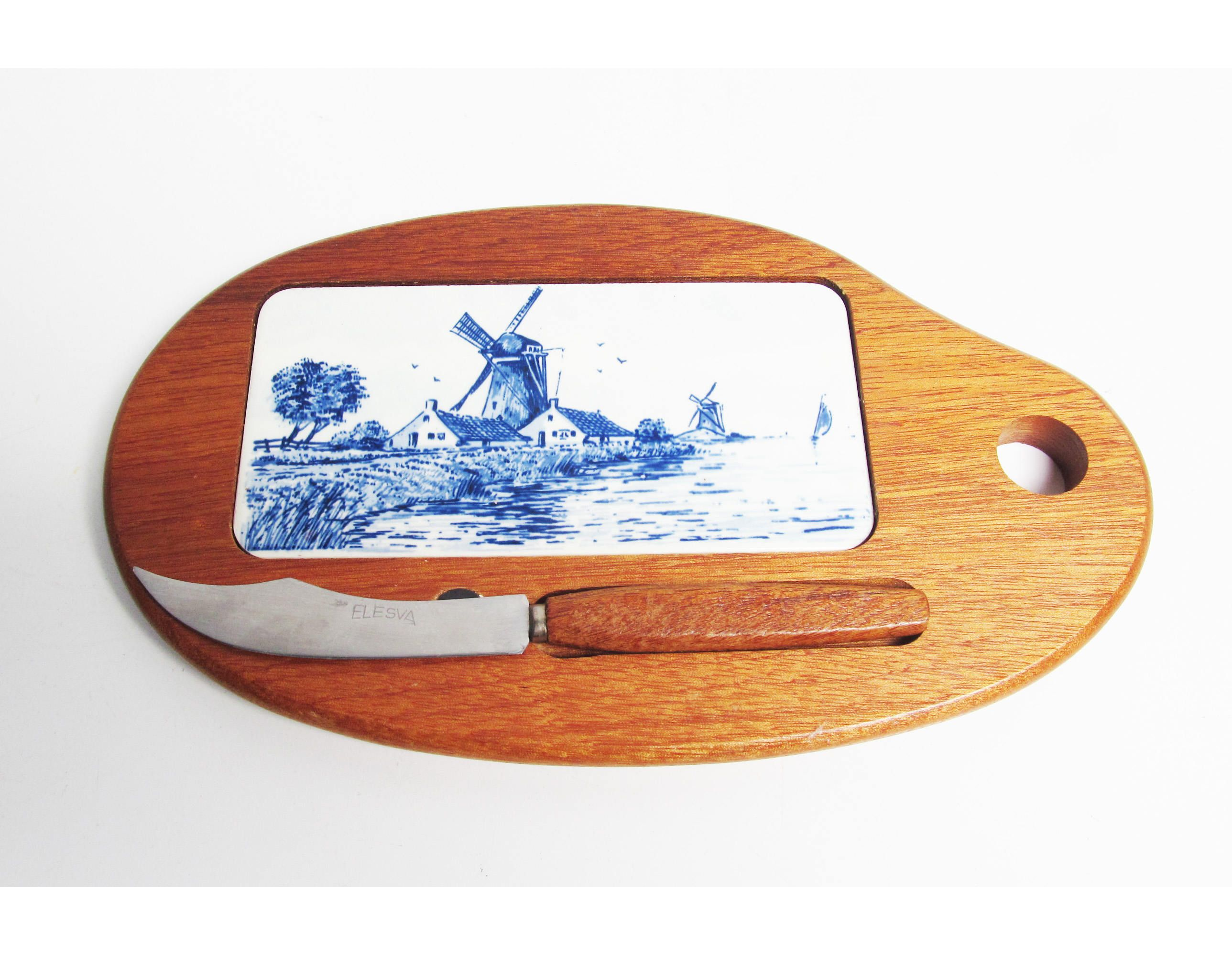 Vintage Delft Cutting Board Cheese Knife Delft Blue Holland Elesva - Ceramic tile cutting boards