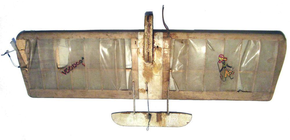 "VTG 1961 VOODOO CLASSIC COMBAT PLANE AIRPLANE MODEL CL RC 36"" WOOTEN DISTRESSED #GOLBERG"