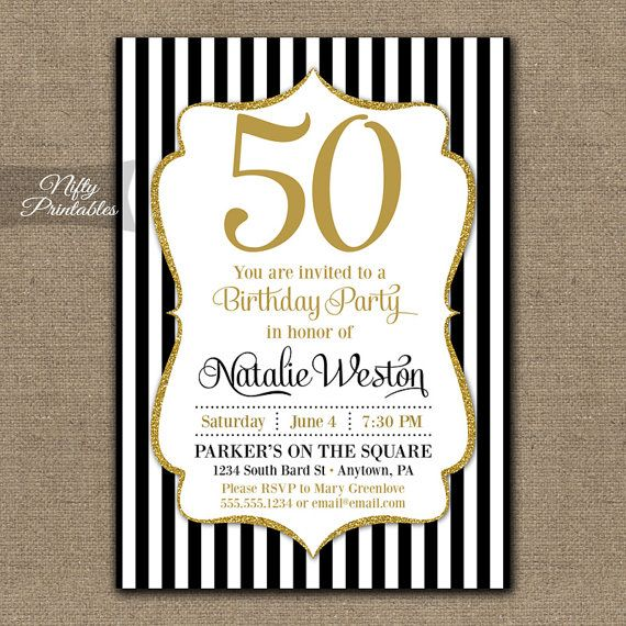 Pretty Black And Gold Glitter Birthday Invitation Or For Any Age Coordinating Party Printables Can Be Found Here