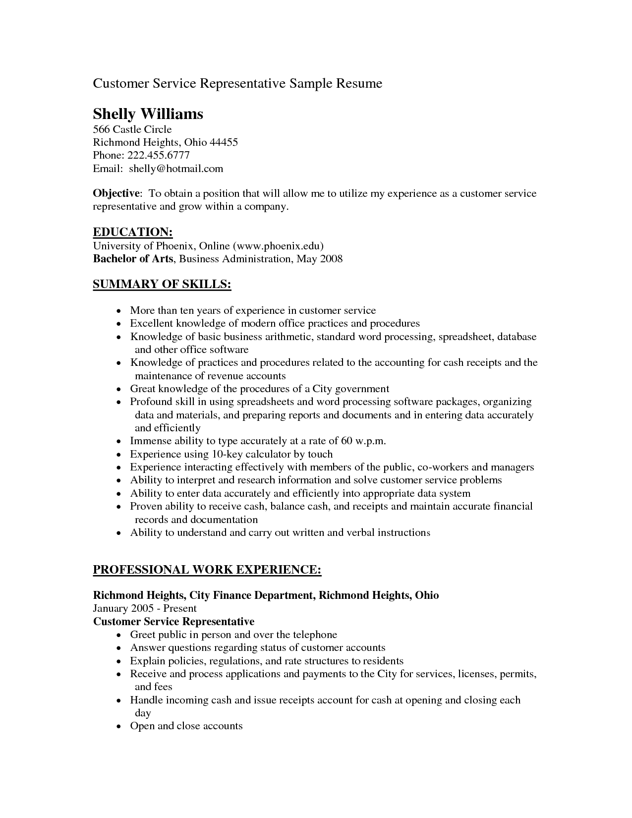 Resume Objectives Customer Service  Sample Resume