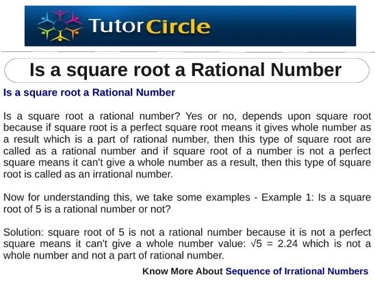 s a square root a rational number? Yes or no, depends upon square - square root chart template