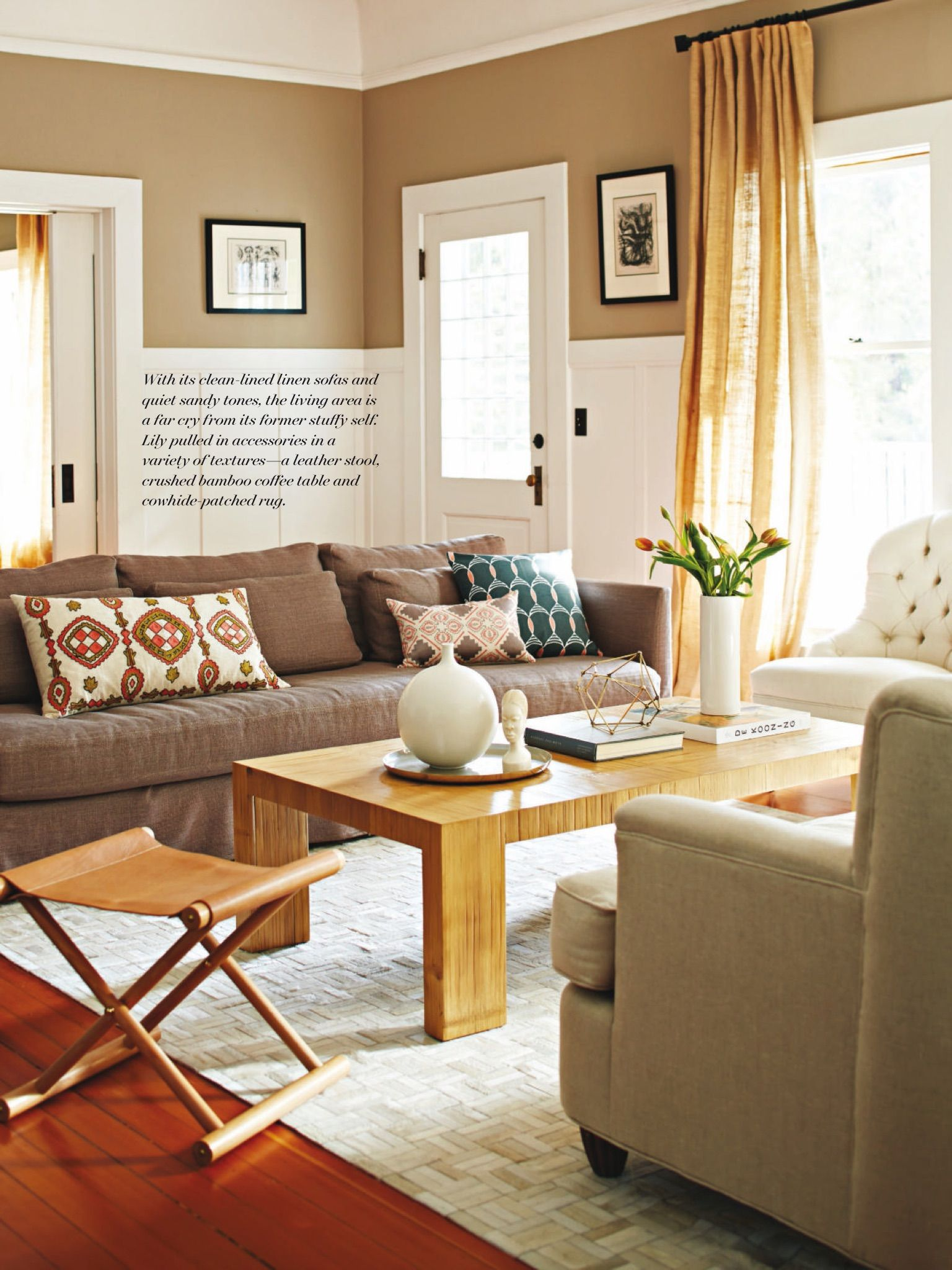 living room of lily kanter serena lily featured in may 2015 issue of - Dark Wood Living Room 2015