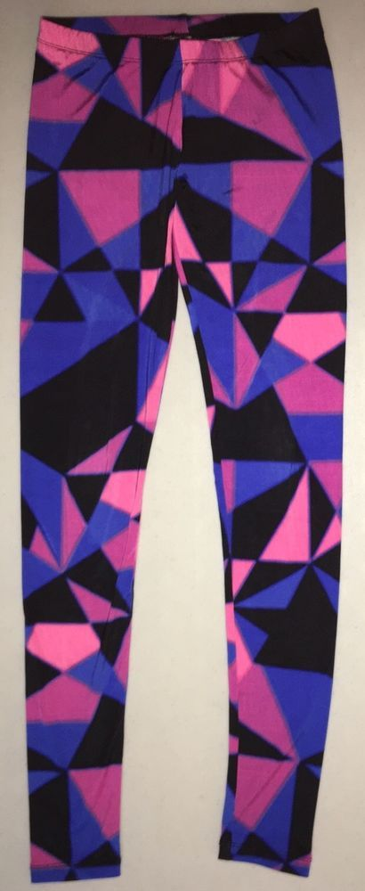 fad997de25908 Juniors Ladies Decree Leggings Pink Blue Black Geometric Pattern Size Small   Decree
